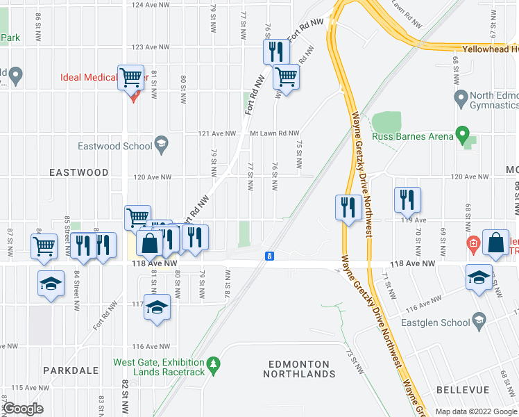 map of restaurants, bars, coffee shops, grocery stores, and more near 11916 76 Street Northwest in Edmonton