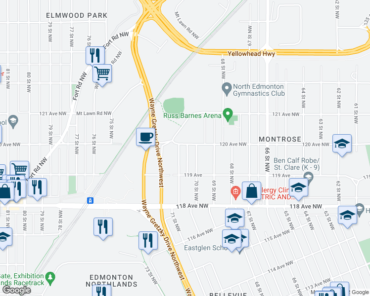map of restaurants, bars, coffee shops, grocery stores, and more near 11947 71 Street Northwest in Edmonton