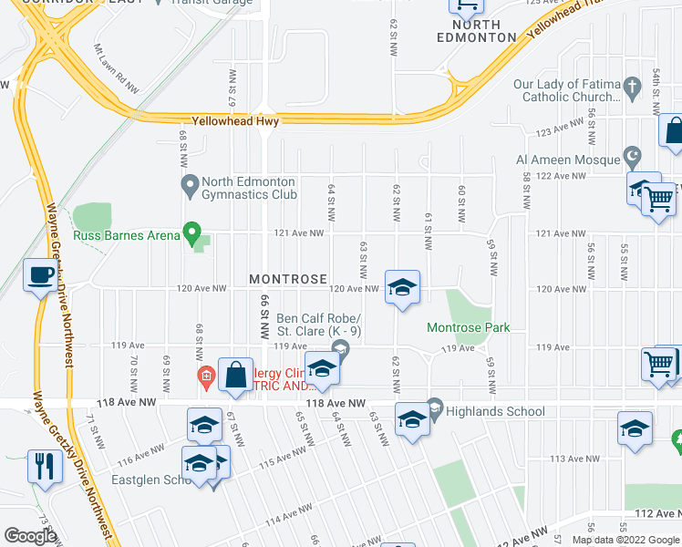 map of restaurants, bars, coffee shops, grocery stores, and more near 12009 64 Street Northwest in Edmonton