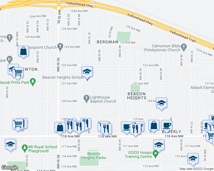 map of restaurants, bars, coffee shops, grocery stores, and more near 12109 45 Street Northwest in Edmonton