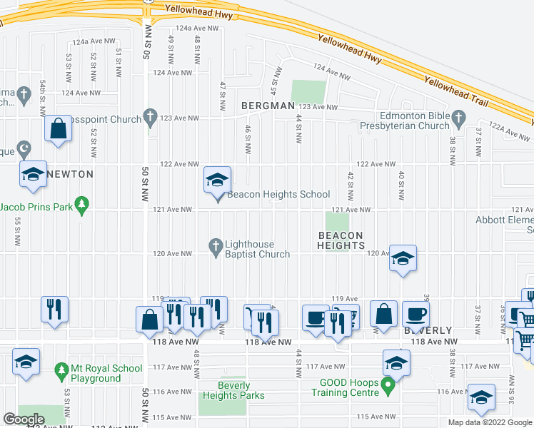 map of restaurants, bars, coffee shops, grocery stores, and more near 12038 45 Street Northwest in Edmonton