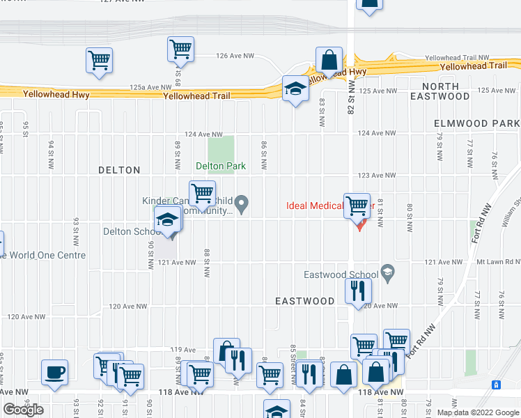 map of restaurants, bars, coffee shops, grocery stores, and more near 12210 86 Street Northwest in Edmonton