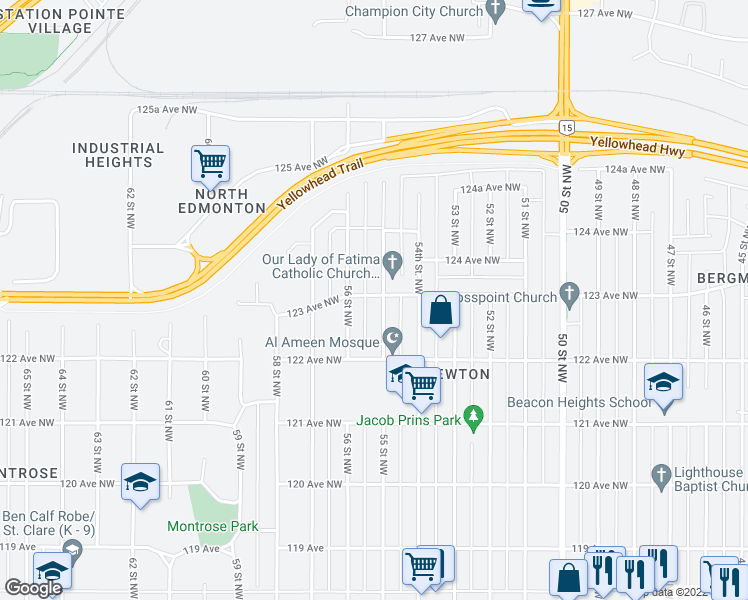 map of restaurants, bars, coffee shops, grocery stores, and more near 12254 55 Street Northwest in Edmonton