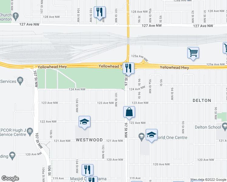 map of restaurants, bars, coffee shops, grocery stores, and more near 124 Avenue Northwest in Edmonton