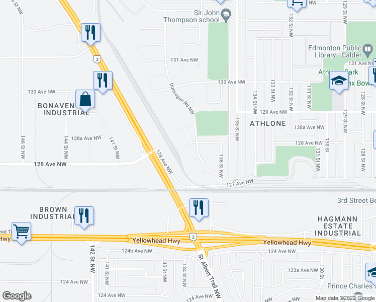 map of restaurants, bars, coffee shops, grocery stores, and more near 13815 128 Avenue Northwest in Edmonton