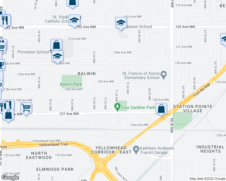 map of restaurants, bars, coffee shops, grocery stores, and more near 7403 130 Avenue Northwest in Edmonton