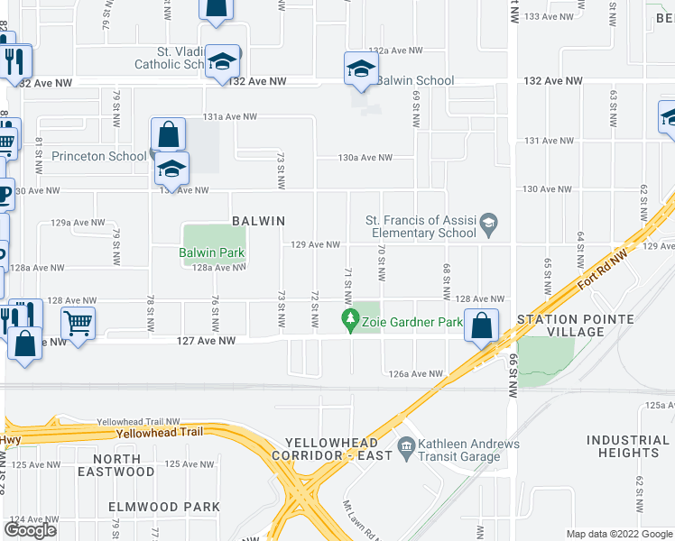map of restaurants, bars, coffee shops, grocery stores, and more near 7105 129 Avenue Northwest in Edmonton