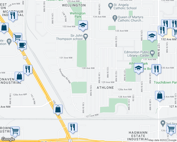 map of restaurants, bars, coffee shops, grocery stores, and more near 12935 136 Street Northwest in Edmonton