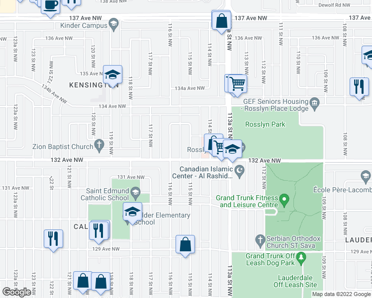 map of restaurants, bars, coffee shops, grocery stores, and more near 13214 115 Street Northwest in Edmonton