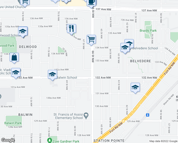 map of restaurants, bars, coffee shops, grocery stores, and more near 13224 66 Street Northwest in Edmonton