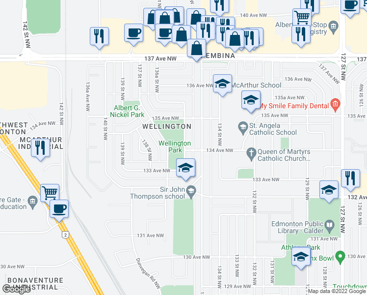map of restaurants, bars, coffee shops, grocery stores, and more near 13407 136 Street Northwest in Edmonton