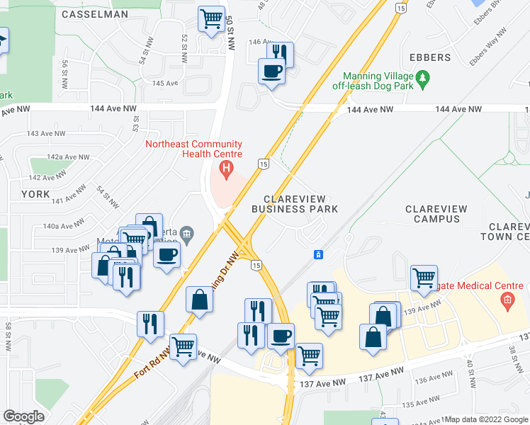 map of restaurants, bars, coffee shops, grocery stores, and more near 301 Clareview Station Drive Northwest in Edmonton