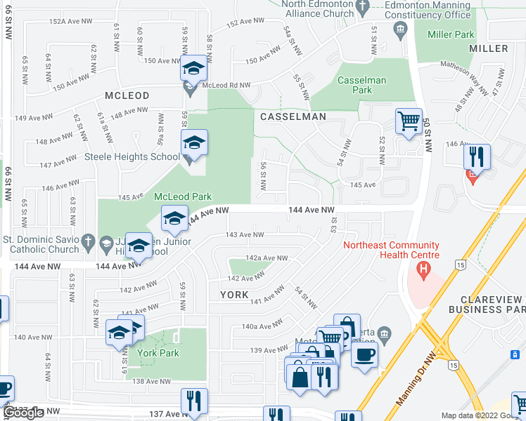 map of restaurants, bars, coffee shops, grocery stores, and more near 227 144 Avenue Northwest in Edmonton