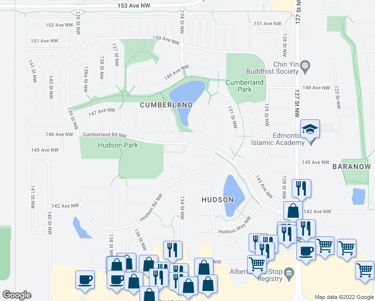 map of restaurants, bars, coffee shops, grocery stores, and more near 421 Hudson Court Northwest in Edmonton