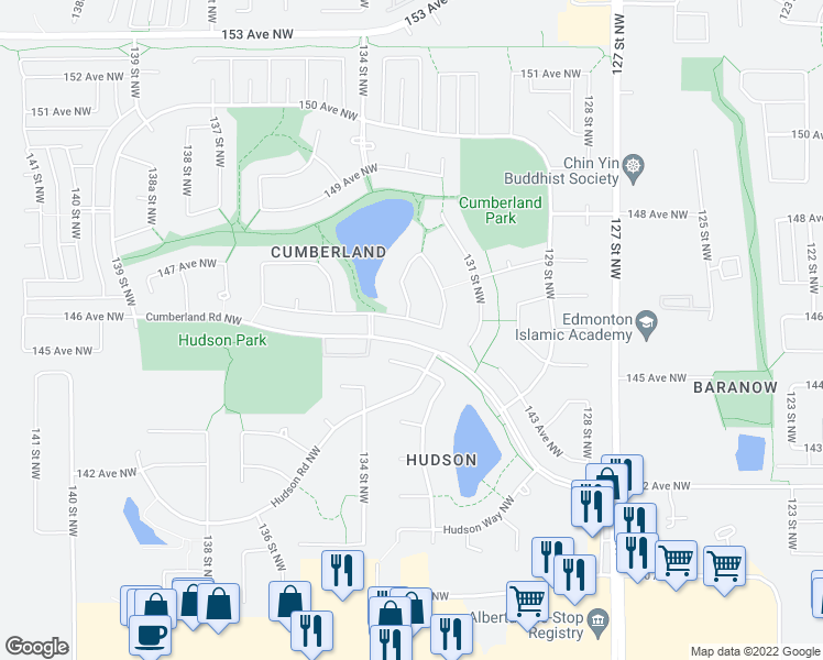 map of restaurants, bars, coffee shops, grocery stores, and more near 203 Cote Crescent Northwest in Edmonton