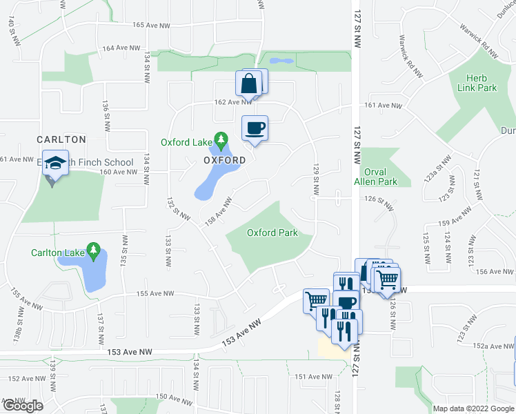 map of restaurants, bars, coffee shops, grocery stores, and more near 15704 130 Street Northwest in Edmonton