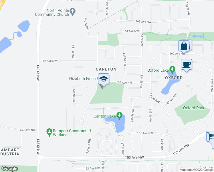 map of restaurants, bars, coffee shops, grocery stores, and more near 15923 139 Street Northwest in Edmonton