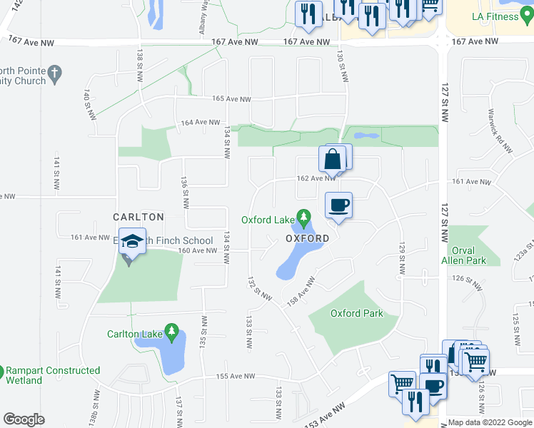 map of restaurants, bars, coffee shops, grocery stores, and more near 16035 132 Street Northwest in Edmonton
