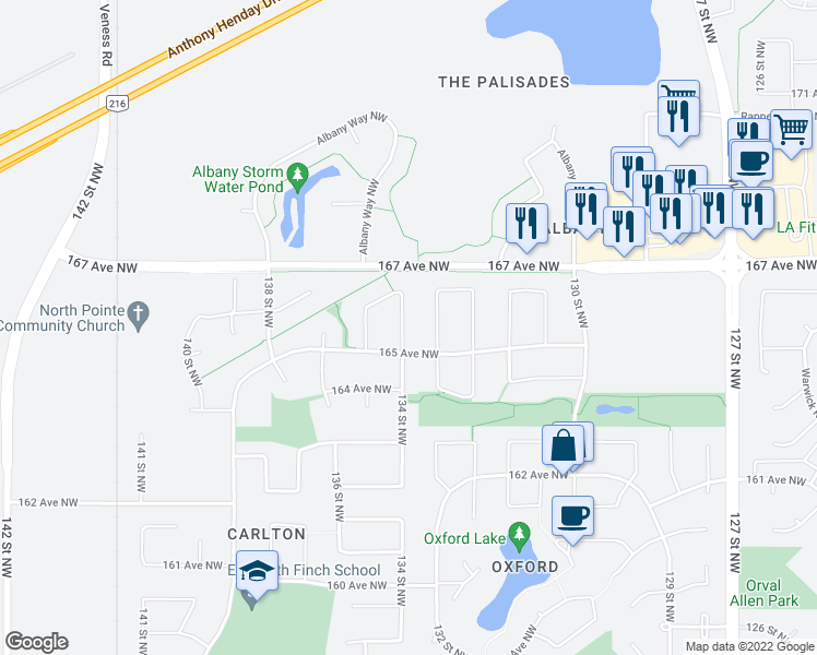 map of restaurants, bars, coffee shops, grocery stores, and more near 16539 134 Street Northwest in Edmonton