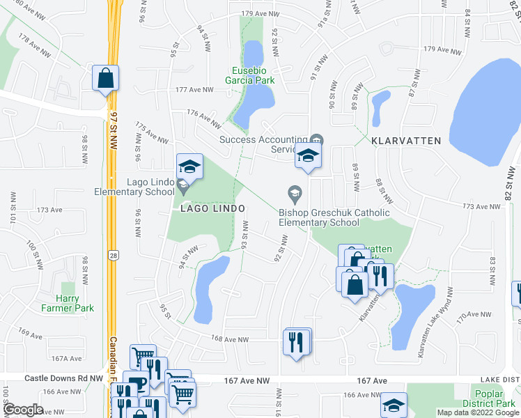 map of restaurants, bars, coffee shops, grocery stores, and more near 17223 93 Street Northwest in Edmonton