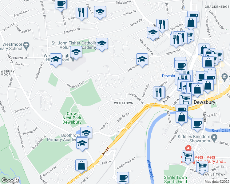 map of restaurants, bars, coffee shops, grocery stores, and more near Tweedale Gardens in West Yorkshire