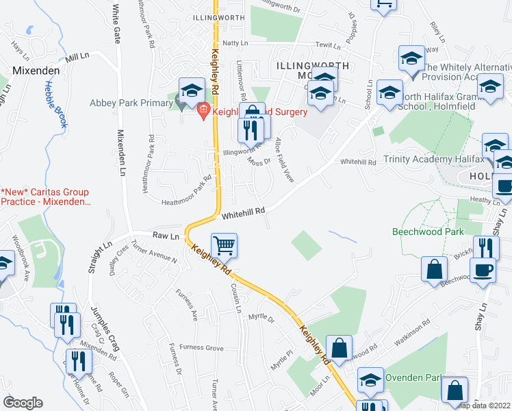 map of restaurants, bars, coffee shops, grocery stores, and more near Whitehill Drive in West Yorkshire