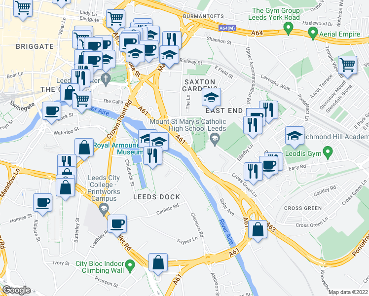 map of restaurants, bars, coffee shops, grocery stores, and more near in Leeds