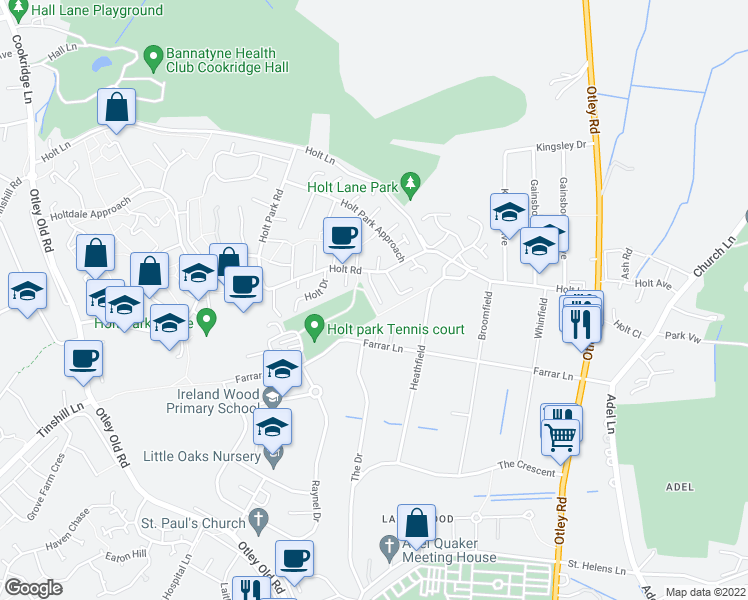 map of restaurants, bars, coffee shops, grocery stores, and more near Heathfield Walk in West Yorkshire