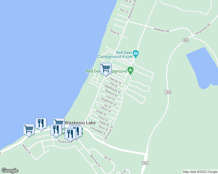 map of restaurants, bars, coffee shops, grocery stores, and more near Waskesiu Drive in Waskesiu Lake