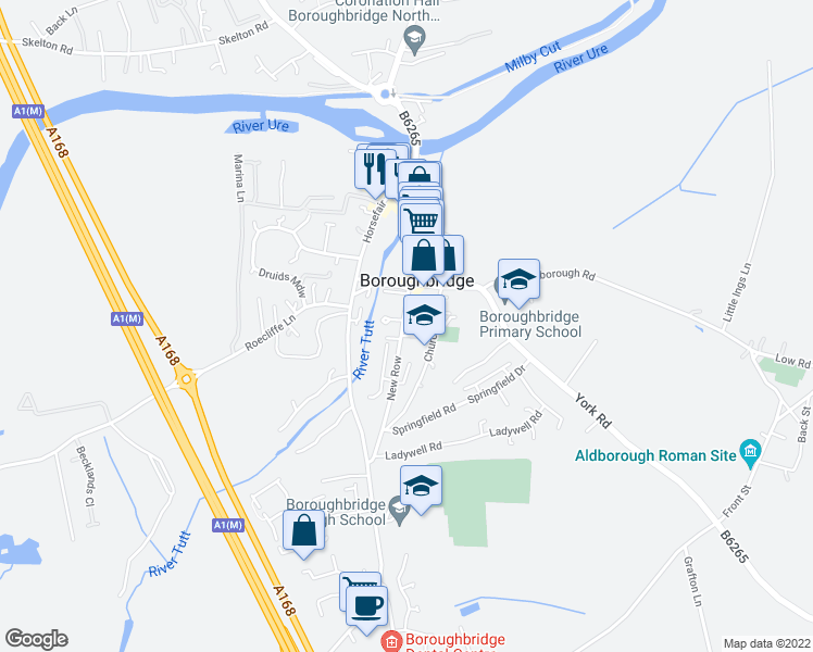 map of restaurants, bars, coffee shops, grocery stores, and more near in Boroughbridge