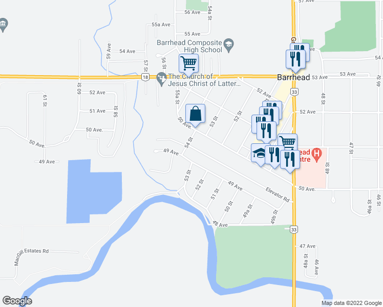 map of restaurants, bars, coffee shops, grocery stores, and more near 5330 49 Avenue in Barrhead
