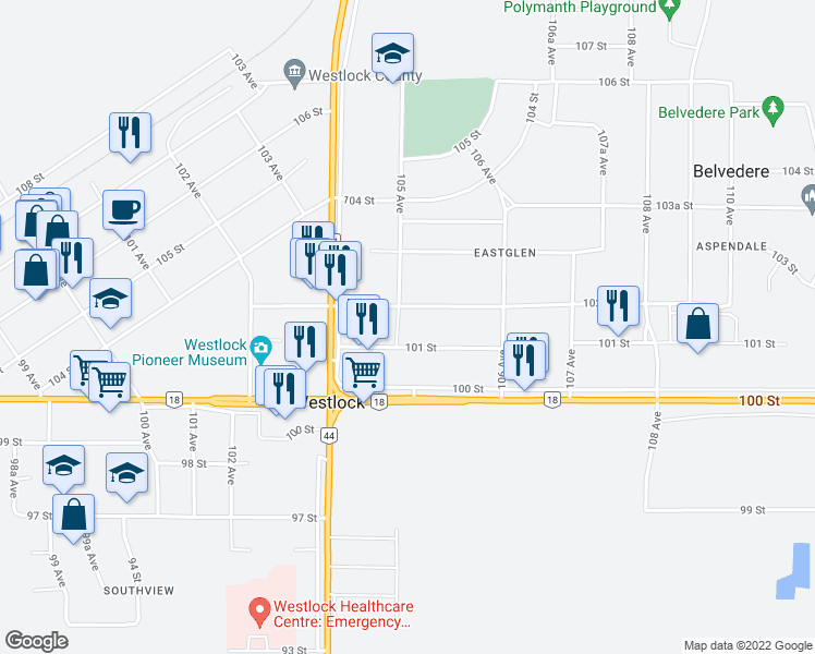 map of restaurants, bars, coffee shops, grocery stores, and more near 10519 102 Street in Westlock