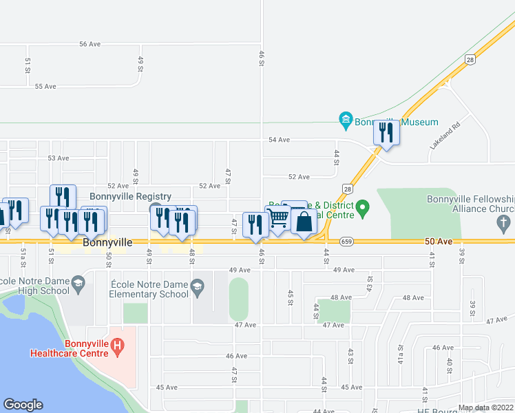 map of restaurants, bars, coffee shops, grocery stores, and more near 3801 51 Avenue in Bonnyville