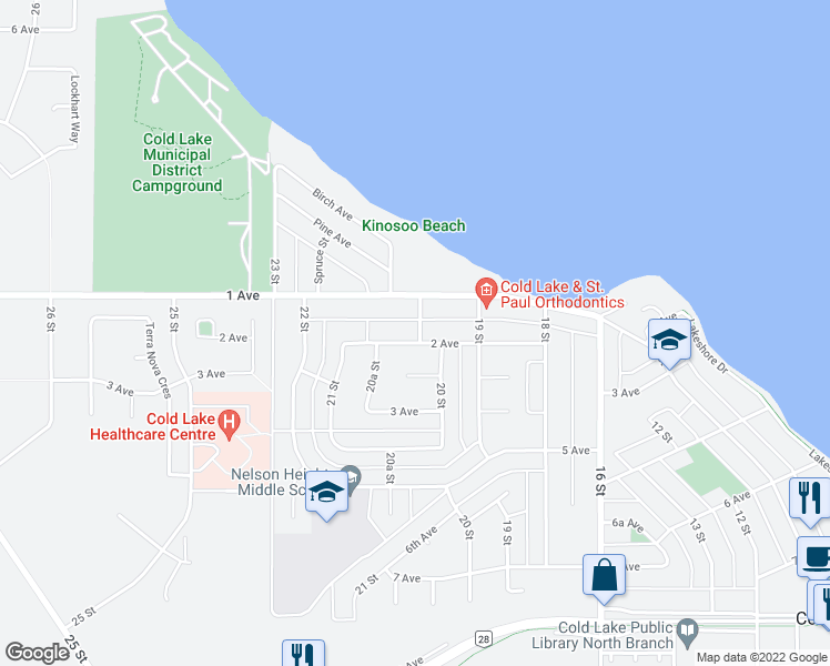map of restaurants, bars, coffee shops, grocery stores, and more near 2005 1 Avenue in Cold Lake