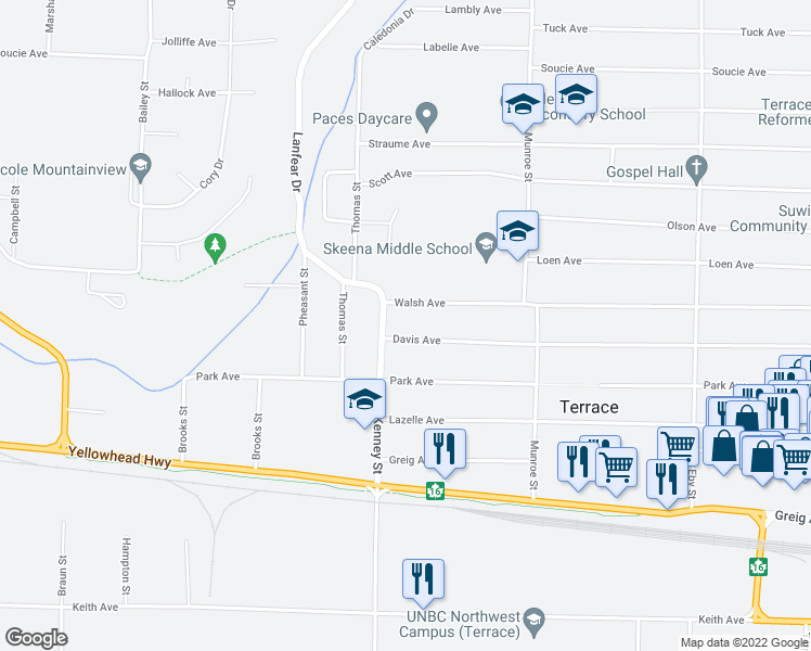 map of restaurants, bars, coffee shops, grocery stores, and more near 3320 Kenney Street in Terrace