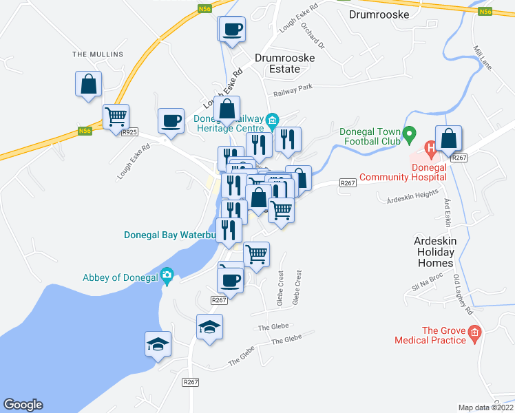 map of restaurants, bars, coffee shops, grocery stores, and more near in Donegal