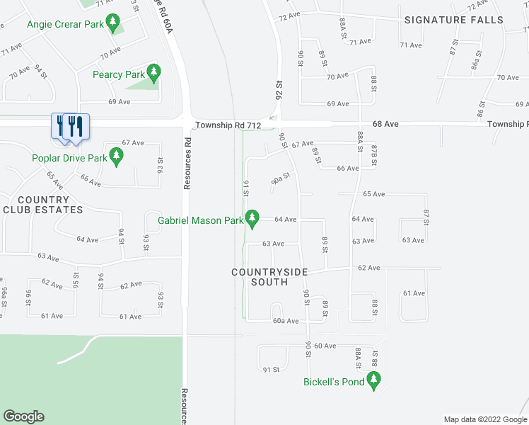 map of restaurants, bars, coffee shops, grocery stores, and more near 9038 64 Avenue in Grande Prairie