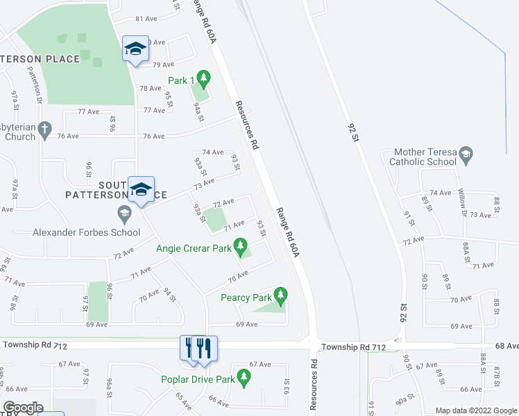 map of restaurants, bars, coffee shops, grocery stores, and more near 7105 93 Street in Grande Prairie