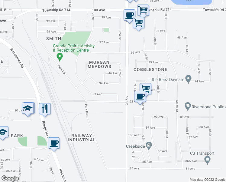 map of restaurants, bars, coffee shops, grocery stores, and more near 9206 93 Avenue in Grande Prairie