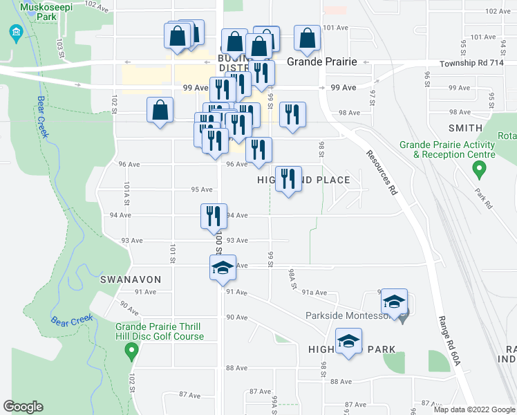 map of restaurants, bars, coffee shops, grocery stores, and more near 9818 94 Avenue in Grande Prairie