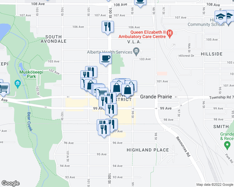 map of restaurants, bars, coffee shops, grocery stores, and more near 9926 100 Avenue in Grande Prairie