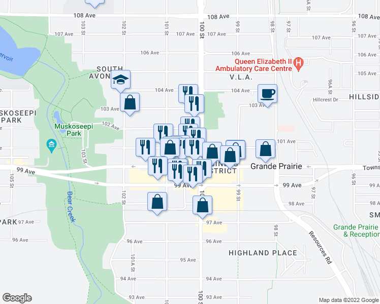 map of restaurants, bars, coffee shops, grocery stores, and more near 10001 101 Avenue in Grande Prairie