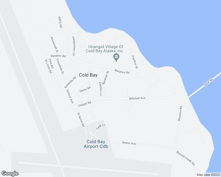 map of restaurants, bars, coffee shops, grocery stores, and more near Buckner Street in Cold Bay