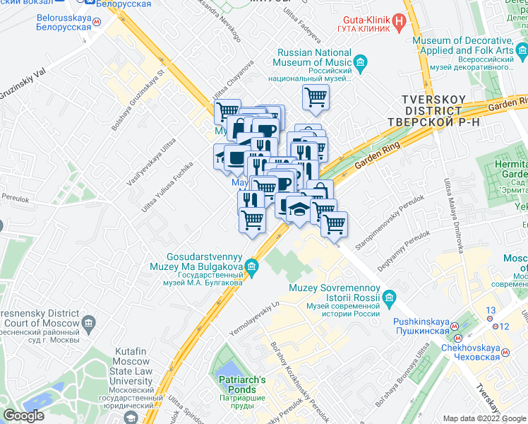 map of restaurants, bars, coffee shops, grocery stores, and more near 1 ploshchad' Triumfal'naya in Moscow