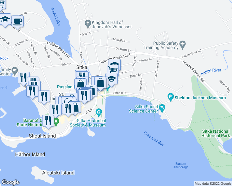 map of restaurants, bars, coffee shops, grocery stores, and more near Lincoln Street in Sitka