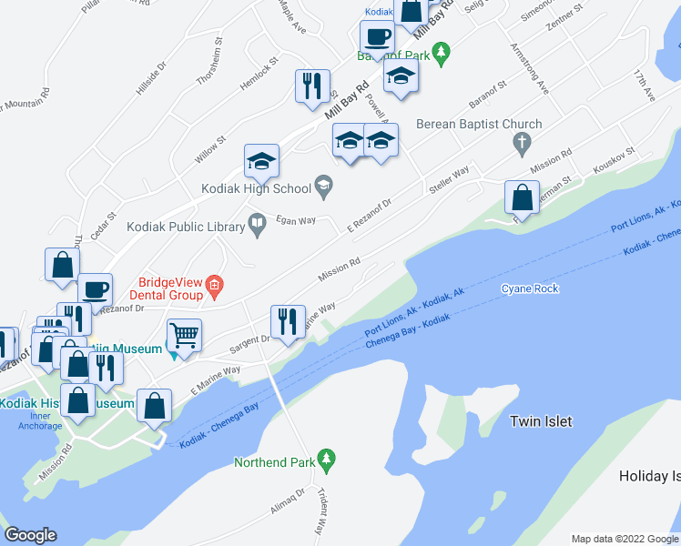 map of restaurants, bars, coffee shops, grocery stores, and more near 719 East Marine Way in Kodiak