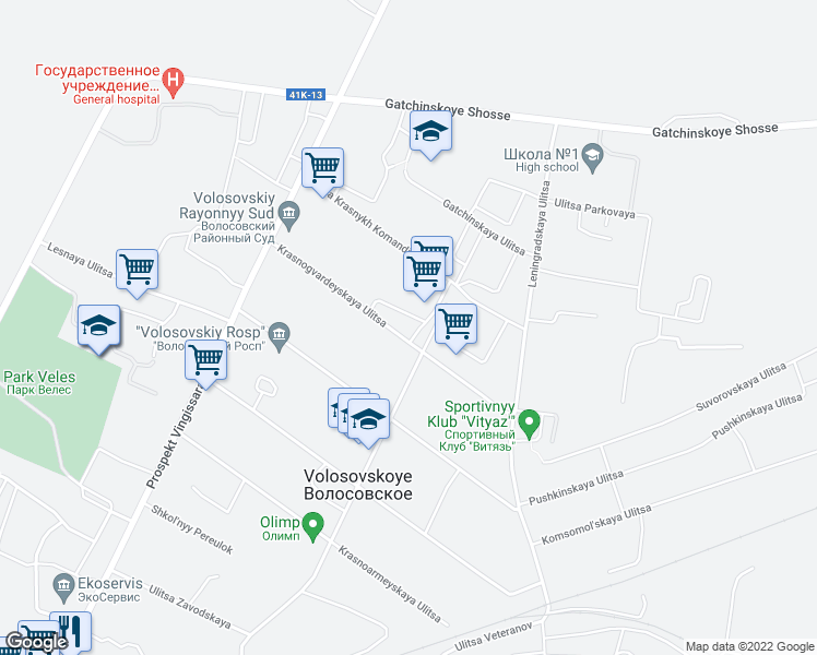 map of restaurants, bars, coffee shops, grocery stores, and more near 10 ulitsa Krasnykh Komandirov in Volosovo