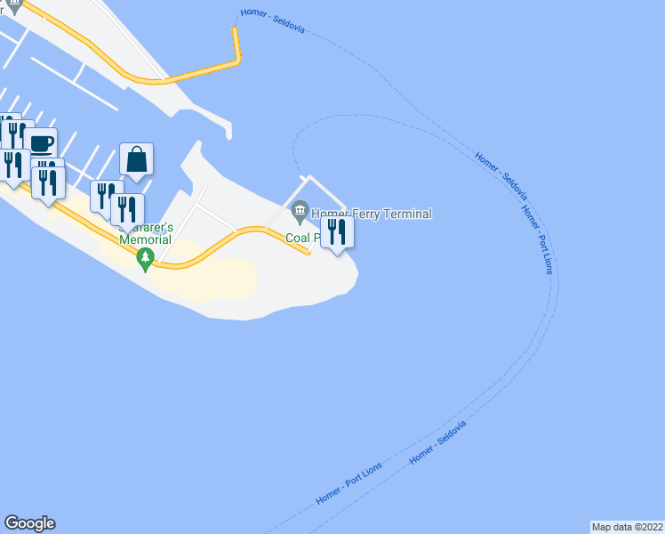 map of restaurants, bars, coffee shops, grocery stores, and more near 4786 Homer Spit Road in Homer