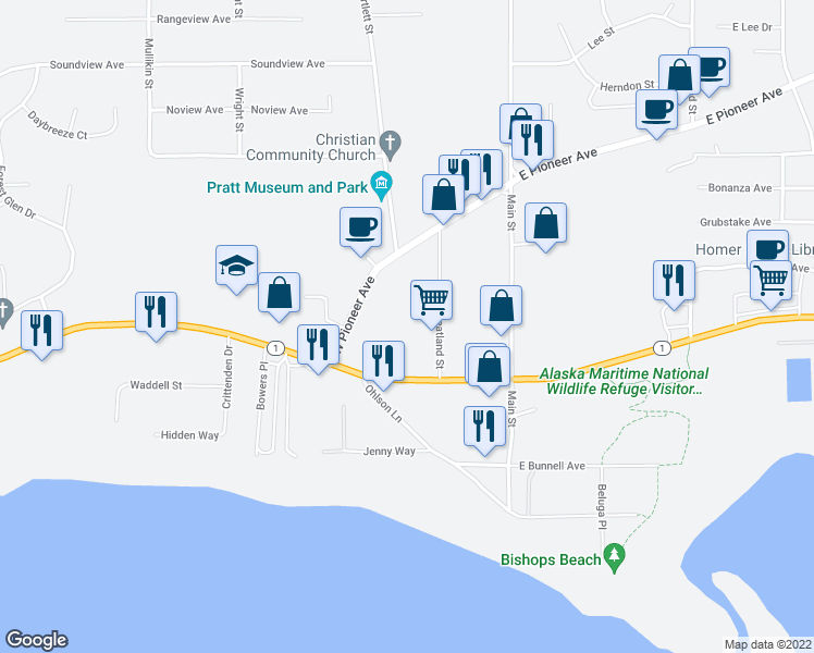 map of restaurants, bars, coffee shops, grocery stores, and more near in Homer