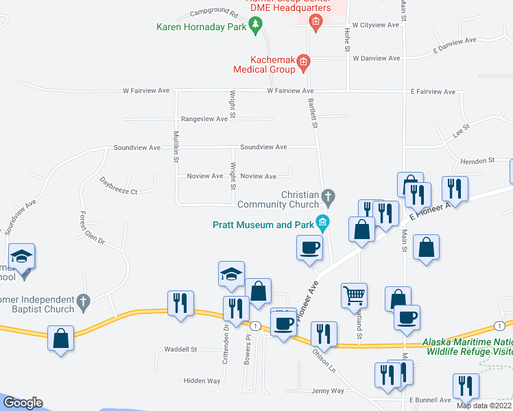 map of restaurants, bars, coffee shops, grocery stores, and more near Spruceview Avenue in Homer
